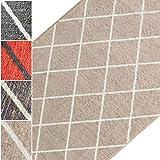 Teppichläufer Cosenza | Rauten Muster im Retro Look | viele Größen | moderner Teppich Läufer für Flur, Küche, Schlafzimmer | Niederflor Flurläufer, Küchenläufer | beige Breite 80 cm x Länge 200 cm