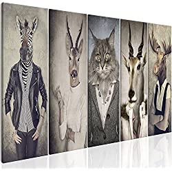 murando - Cuadro Ciervo 225x90 cm - Impresion en Calidad fotografica - 5 Partes - Cuadro en Lienzo Tejido-no Tejido - Naturaleza Animale Paisaje g-B-0041-b-m