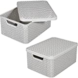 Rattan Korb M mit Deckel 39x29cm Kunststoff Aufbewahrungsbox Dekobox Box Kiste (Weiß)
