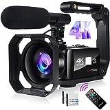 Videocamera Digitale Full HD Videocamera 4K 48MP Immagine Videocamera con Microfono, Wi-Fi, Zoom Digitale 18X, Touch Screen 3