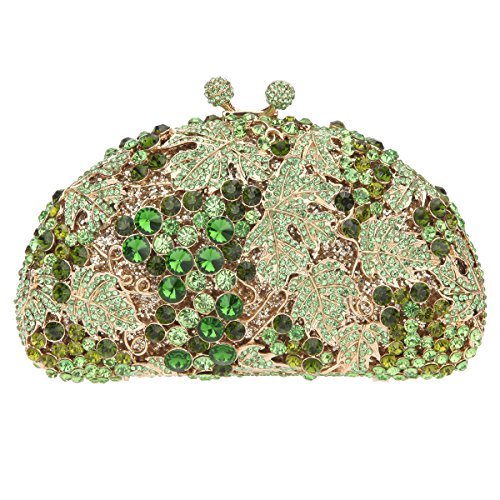 Bonjanvye Glitter Studded Grape Shape Clutch Bags for Ladies Daily Dressing Green (Casual Italienisch Dressing)