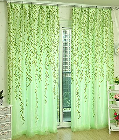 Omiky® 1Pc Willow Twigs Voile Tulle Window Curtain,78.7*39.4inch