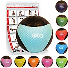 POWRX - Balón medicinal + PDF Workout I Peso Wall Ball 1 - 10 kg Varios