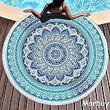 Morbuy Teli Mare Rotondo Mandala Decorazione Stile Boemo Telo Spiaggia Tappeto Tovaglia in Telo da Mare Leisure Yoga Mat Beach Picnic Mat Scialle Clip, 59 inch (150cm,Mandala - Blu)