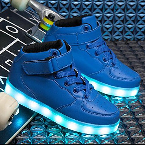 SAGUARO 7 Colors USB Charging LED Lighted Luminous Couple Casual Sport Shoes High Top Sneakers for Unisex Men Women Blau