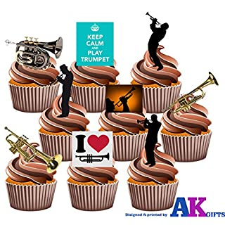 Love Trompete, Keep Calm And Play Trompete, Silhouette Spieler und Trompete Party Pack Mix–essbar Stand-up Cupcake Topper (36Stück)