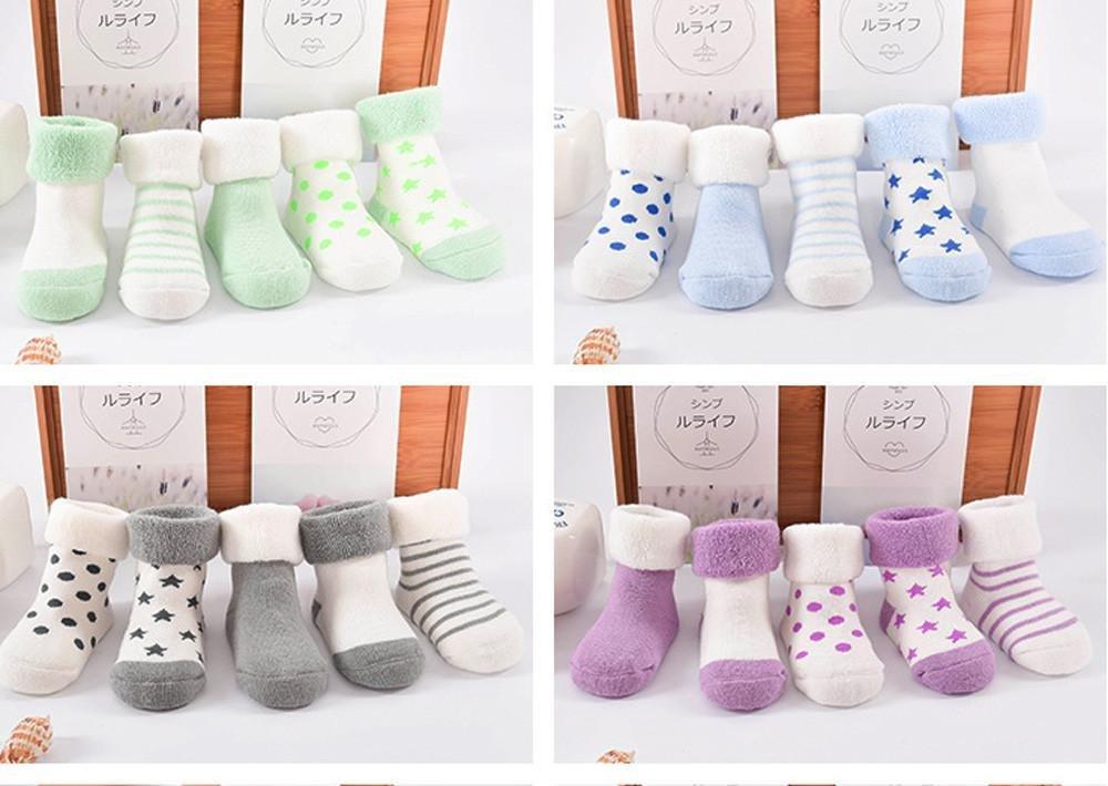 K-youth® Pack de 5 Pares Calcetines para Bebé Niños Niñas Antideslizante Calcetín 0-2 años 3