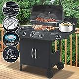 broil-master Barbecue à Gaz | 3 Brûleurs Principaux + 1 Latéral, en Acier, avec Thermomètre et roulettes, 132/104/46 cm, Noir | BBQ Gaz, Barbecue Gaz Plancha