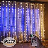 LED Lichterkette Innen, isimsus 3M*3M USB Kupfer 300 LEDs String Light Lichterketten Vorhang Fernbedienung Wasserdicht 8 Programm Zeitwahl Dimmen LED-Lichter für Innenbeleuchtung, Garten, Hochzeit, Party