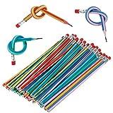Biegebleistift, 50 Stück Flexible Biegbare Bleistifte mit Radiergummi, Biegsame Bleistifte Magic Biegebleistift für Kinder,Party und Kleiner Geschenke Mitgebsel und Spielzeug Beim