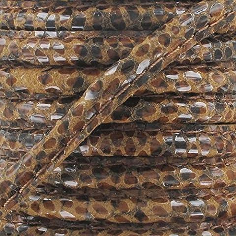 Cordón de cuero con puntadas vistas 4 mm Serpiente Marrón x1 m