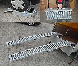 2x Auffahrrampe Stahl 500 Kg (Traglast Paar) klappbare faltbare Rampe Auffahrschiene Motorradrampe Auffahrbock (Traglast 1600 Kg Paar) Verladerampe Verladerampen Laderampe Laderampen