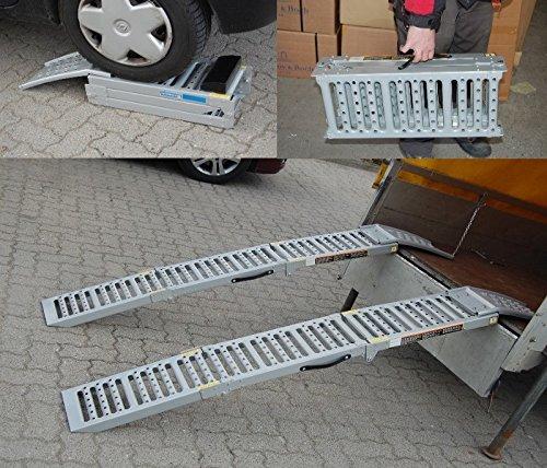 2x Auffahrrampe Stahl 500 Kg (Traglast Paar) klappbare faltbare Rampe Auffahrschiene Motorradrampe | als Auffahrbock (Traglast 1600 Kg Paar) Verladerampe Verladerampen Laderampe Laderampen