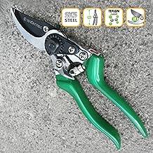 GRÜNTEK Teflon Cesoie per giardino FALKE (FALCO) con lama da 48 mm Forbici in acciaio giapponese SK5, rivestita Teflon, terra di Precisione, ByPass con maniglie ergonomiche, verde