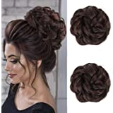 Akashkrishna Messy Hair Bun Extensions 2PCS Curly Wavy Messy Synthetic Chignon Hairpiece Scrunchie Scrunchy Updo Hairpiece fo