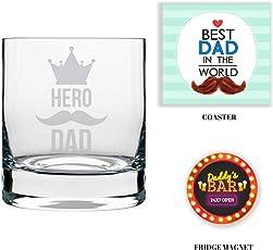 YaYa cafe Combo Hamper Set of 3 - Whiskey Glass, Coaster, Fridge Magnet