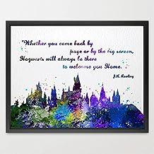 """Dignovel Studios Ilustración con castillo de Hogwarts, de """"Harry Potter"""", en acuarela, con cita en inglés, para niños, boda cumpleaños regalo, N382 - sin marco"""