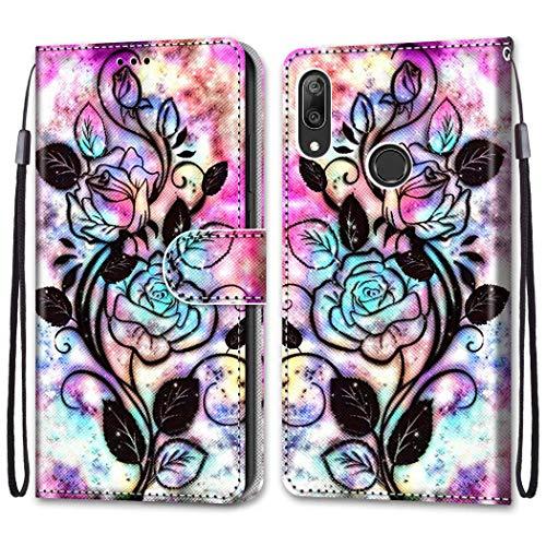 Nadoli Bunt Leder Hülle für Huawei Y7 2019,Cool Lustig Tier Blumen Schmetterling Entwurf Magnetverschluss Lanyard Flip Cover Brieftasche Schutzhülle mit Kartenfächern