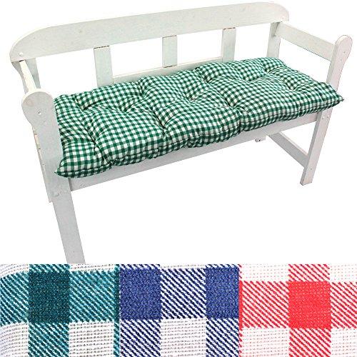 PROHEIM Gartenbank-Auflage Karo Auflage-kissen für Bänke und Gartenschaukel Sitzkissen für Bank Sitzpolster 8 cm dick, Farbe:Grün, Größe:120 x 50 x 8 cm
