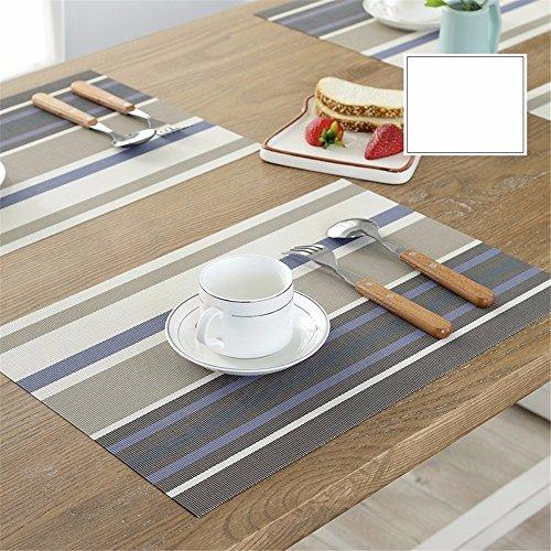 XXSZKAA Creative Grey Striped Table Tapis De Table en PVC Coussin Européen Isolé Coussin De Tasse, Gris 4 Pièces, 45 * 30 Cm