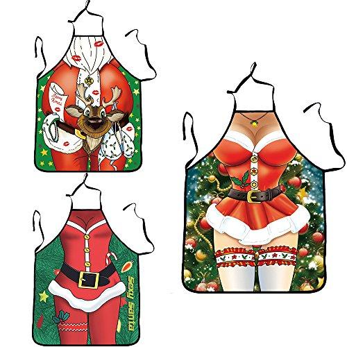 DieWu Sexy Schürze Neuheit Funny Erwachsene Küche Kochen Grillen Schürze Funny Creative Thanksgiving Weihnachten Geschenk für Erwachsenen-& #-; Merry Christmas Schürze (zufällige (Kind Kostüm Muskel Mann)