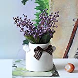 GSYLOL Hohe Qualität 1 Satz Künstliche Blumen Bonsai Keramik Pflaumenblüte Mit Vase Gefälschte Topfblumen Für Festliche Party Dekoration, Lila