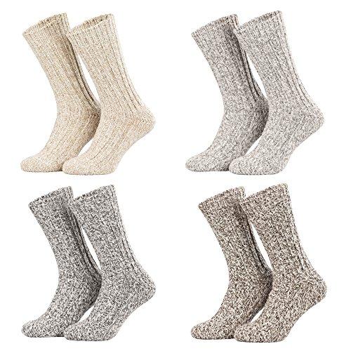 Piarini - 4 pares de calcetines noruegos muy cálidos - Gris y natural jaspeado - 43-46