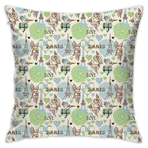 HHOWE Garden Art Throw Pillow Cushion Cover,Funny Little Birds Butterflies Green Leaves Poppy and Marigold Flowers On White,Decorative Square Accent Pillow Case,18 X 18 Inches,Multicolor