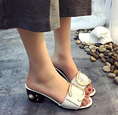 sandales d'été épais avec dame sauvages chaussures tête de poisson perle sandales White