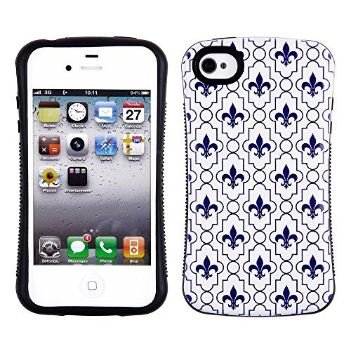 Blau Fleur De Lis Design Apple iPhone 4, 4S AT & T. Verizon, Sprint, C Spire iFace schwere Dual Layer schwarz Bumper stoßfest Hybrid TUFF Combo Rugged Body Armor Defender Triple Layer stoßfest Fall Hard Phone Sony Tuff Combo Rugged Body Armor Defender Triple Layer stoßfest Case Cover Gummiert Touch Blenden (Iphone 4 Body Armor Hybrid Case)