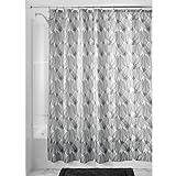 iDesign Leaf Duschvorhang | Design Duschvorhang in der Größe 183,0 cm x 183,0 cm | auffälliges Duschvorhang Motiv mit Blättern | Polyester schwarz/weiß
