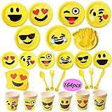 Juego de 164 accesorios para fiesta, diseño de emoticonos, incluye 24 platos de papel Emoji (18 y 23 cm)