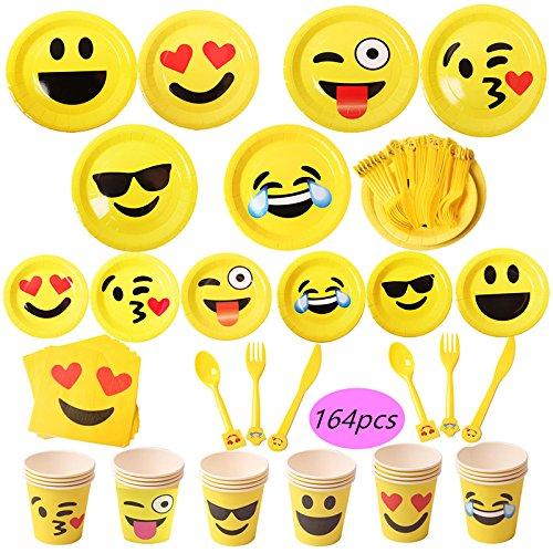 Materiale per feste con motivo emoji, 164 pezzi, piatti di carta da 17,8 cm e bicchieri di carta da 22,8 cm, tovaglioli, per 24 persone.