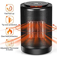 LONOVE Ceramic Heater - Portable PTC Space Heater for Office Bedroom Room Garage Desk Area, Small Personal Radiant 1200W/600W Electric Heater Indoor With Thermostat Oscillation Tip-Over & Overheat