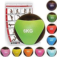 POWRX - Balón medicinal + PDF Workout I Peso Wall Ball 1 - 10 kg Varios. Colores I medicinal Fitness pelota Studio Calidad, TALLA: 6 kg / COLOR: Verde claro