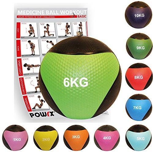 POWRX - Balón Medicinal 6 kg + PDF Workout Verde