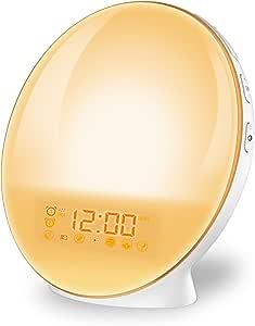 imoebel Lichtwecker, LED Wake-up Licht Wecker Wake-up Light, Digitaler Wecker, Sonnenaufgangssimulation, 7 natürliche Töne, FM Radio, Schlummerfunktion, Tageslichtwecker.