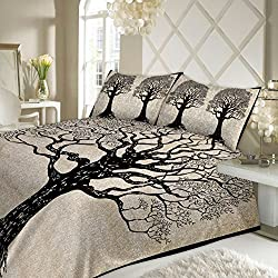 JR Print Oxy Life Tree Double Bedsheet King Size Jaipuri Rajashani 100% Cotton Multicolor - Black,Double