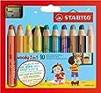 STABILO woody 3 in 1 - Buntstift, Wasserfarbe und Wachsmalkreide in einem- 10er Set - mit Spitzer