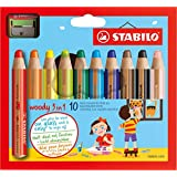 STABILO Woody 3-in-1 Multi-Talented Pencils with Sharpener, assorted colours wallet 10