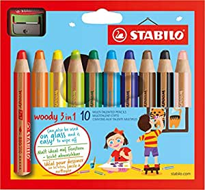 STABILO woody 3in1 - Étui carton de 10 crayons tout-terrain + taille-crayon