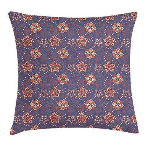 K0k2t0 Floral Throw Pillow Cushion Cover, Flower Scroll Pattern with Swirled Branches Leaves and Blossoms Persian, Decorative Square Accent Pillow Case, 18 X 18 inches, Cadet Blue Orange Cream - Orange Flower Body Cream