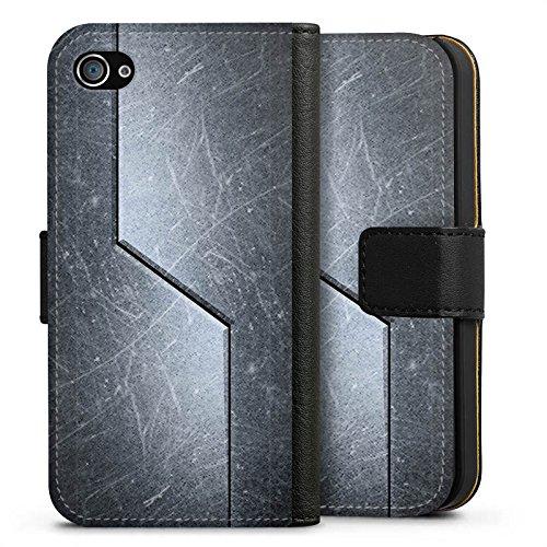 Apple iPhone X Silikon Hülle Case Schutzhülle Stahl Metall Look Muster Sideflip Tasche schwarz