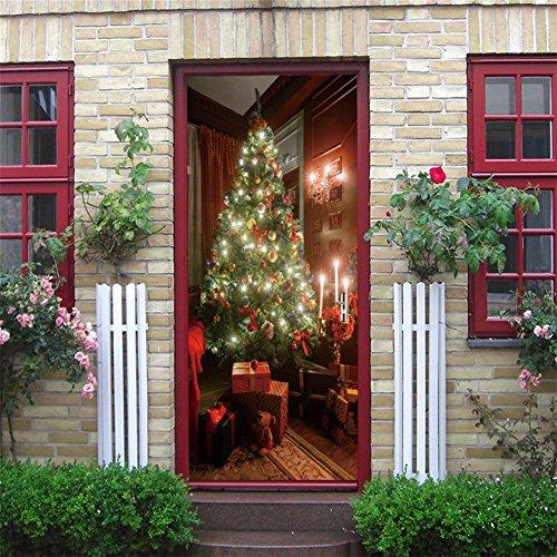 Bizhi adesivi per porte stereo 3d adesivi porta albero di natale adesivi murali decorazione - Porte decorate adesivi ...