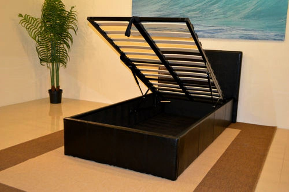 Black 4ft Small Double Storage Ottoman Gas Lift Up Bed Frame