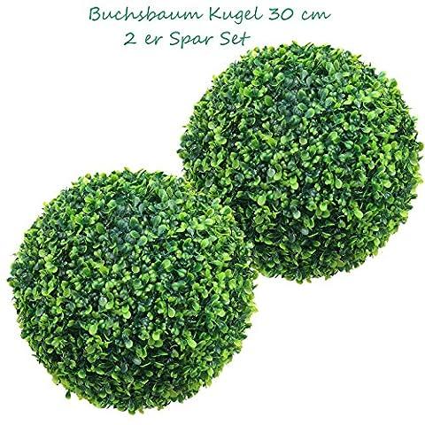 2 x 27 cm Ø künstliche Buchsbaumkugeln (CLASSIC) 2 Stück-Spar-Set - sehr natürlich wirkend, TOP Qualität