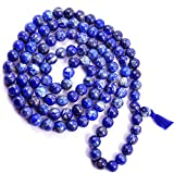 ESHOPEE 6MM LAPIS LAZULI HEALING CRYSTAL STONE MALA NECKLACE FOR GOOD POWER SPRIT AND VISION, 108+ BEADS ROSARY MALA (lapis lazuli)