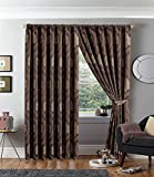 """Pencil Pleat Curtains Fully Lined Jacquard Pencil Pleat Curtains for Bedroom Living Room + 2 Tie Backs (2 x ( 90"""" W x 90"""" L ), Betty Chocolate)"""
