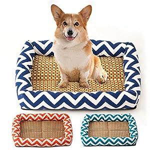 Canapé Pet Bed Pour L'été, 3 Tailles De Couleurs Avec Tapis En Bambou, Keep Dog Cat Puppy Kitty Cool Et Fortable Sur Hot Day
