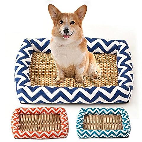 Canapé Pet Bed Pour L'été, 3 Tailles De Couleurs Avec Tapis En Bambou, Keep Dog Cat Puppy Kitty Cool Et Fortable Sur Hot Day , blue , S